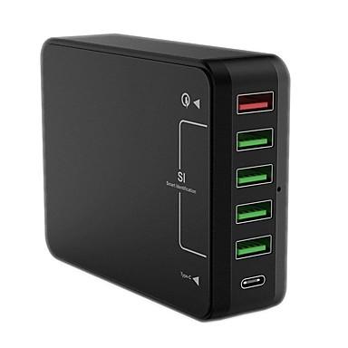 USB töltő QC61 6 Íróasztal töltőállomás A Quick Charge 3.0-mal US dugasz EU konnektor UK dugasz AU csatlakozó Töltőadapter