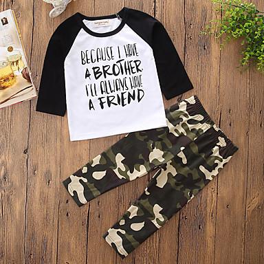 Boys' Camouflage Clothing Set, Cotton Polyester Spring Fall Long Sleeves Cartoon Dresswear Black