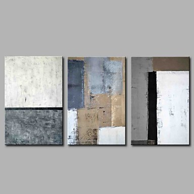 cheap Wall Art-Oil Painting Hand Painted - Abstract Simple Modern Stretched Canvas / Three Panels