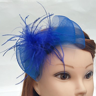 Tulle / Net Headbands / Fascinators / Birdcage Veils with Feather 1 Wedding / Special Occasion / Event / Party Headpiece