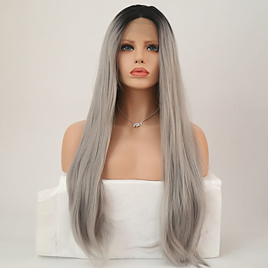 Synthetic Lace Front Wig Straight Synthetic Hair Middle Part Sew in Gray Wig Women's Long Lace Front