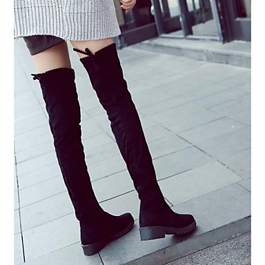 28e8b8cb2e3 Women s Leather   Nappa Leather Winter Fashion Boots   Slouch Boots Boots  Chunky Heel Thigh-high Boots Black   EU39