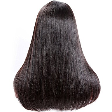 Virgin Human Hair Glueless Lace Front Lace Front Wig Brazilian Hair Yaki Yaki Straight Wig 130% 150% 180% Density with Baby Hair Natural Hairline For Black Women Unprocessed Women's Short Medium