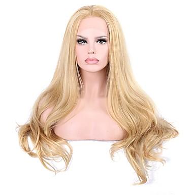 Syntetyczne koronkowe peruki Falisty Z baby hair Blond Damskie Koronkowy przód Peruka imprezowa Peruka naturalna cosplay peruka Długo