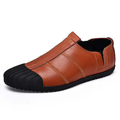 Męskie Buty Świńska skóra Derma Zamsz Wiosna Lato Comfort Mokasyny i pantofle na Casual Black Brown
