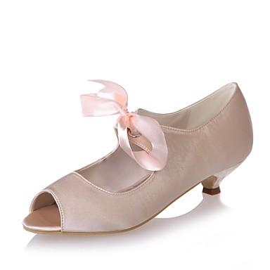 Bleu mariage Champagne Femme Ruban Eté Satin 06410103 Escarpin Bout Heel Basique Ivoire Printemps ouvert Chaussures Chaussures Kitten de nZp6wqZ8Rr