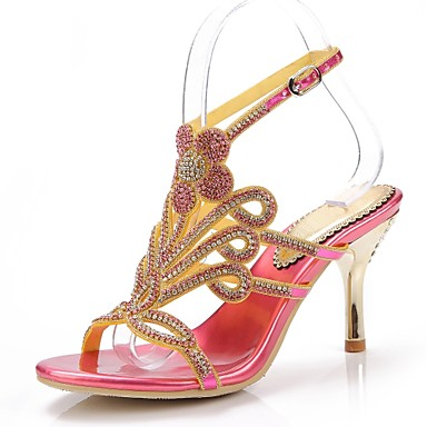 Mujer Zapatos Poliuretano Primavera / Verano Botas de Moda Sandalias Puntera abierta Pedrería / Cristal / Purpurina Dorado / Negro Coût Frais De Port Offerts MWCjgb
