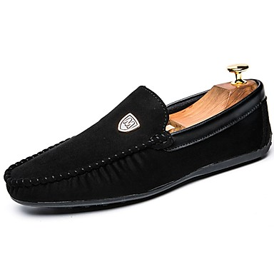 Męskie Buty PU Zamsz Nubuk Wiosna Jesień Mokasyny Comfort Mokasyny i pantofle na Casual Black Czerwony Niebieski