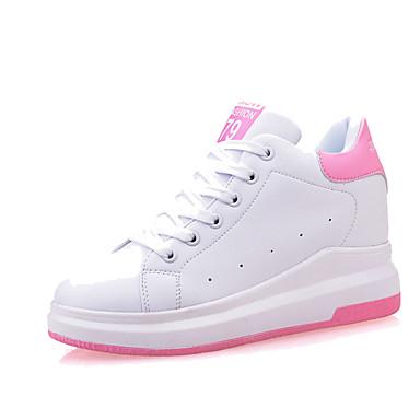 Mujer Zapatos Cuero Primavera / Otoño Creepers Zapatillas de deporte Paseo Tacón Cuña Dedo redondo Con Cordón Blanco / Negro / Rosa 4KPNf