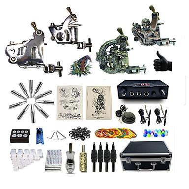 BaseKey Maszynka do tatuażu Profesjonalny zestaw do tatuażu - 4 pcs Maszyna do tatuowania, Profesjonalny Stop 20 W Etui w komplecie 2 Maszynka liner/shader ze stali / 2 Maszynka liner/shader ze stopu