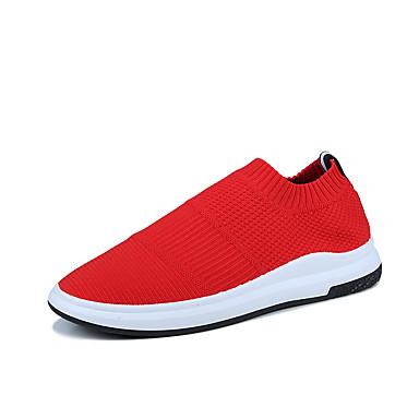 Homens sapatos Couro Ecológico Primavera Outono Conforto Sandálias para Ao ar livre Preto Cinzento Vermelho