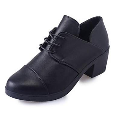 Damen Schuhe PU Frühling Herbst Slouch Stiefel Stiefel Runde Zehe Booties / Stiefeletten Schnürsenkel für Normal Büro & Karriere Schwarz