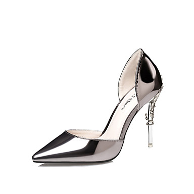 Women's Patent Leather Spring / Summer Club Shoes Heels Walking Shoes Stiletto Heel Dark Grey / Silver / Pink / Wedding / Party & Evening / Dress / 3-4 / Party & Evening