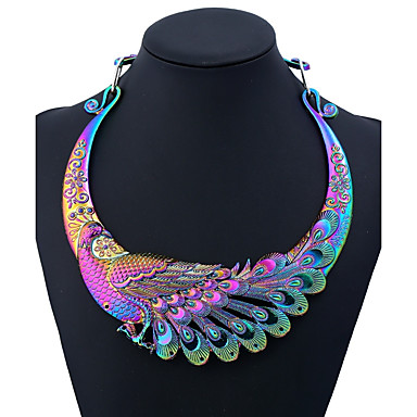 07e8ae529f880e Women's Ethnic & Religious Statement Necklace Peacock Ladies Colorful  Chunky Black Silver Rainbow 50 cm Necklace Jewelry One-piece Suit For Party  Daily