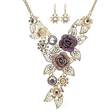 Damskie Syntetyczny diament Biżuteria Ustaw - Imitacja diamentu Kwiatowe / Roślinne, Kwiat Klasyczny, Moda Zawierać Kolczyki drop Naszyjniki z wisiorkami Złoty Na Impreza Zaręczynowy