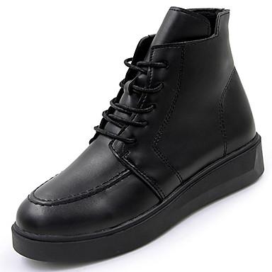 Damskie Obuwie Guma Zima Obuwie w stylu wojskowym Buciki Okrągły Toe Black