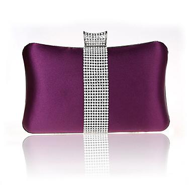 abordables Sacs-Femme Détail Cristal Satin Pochette Sacs de soirée en cristal strass Violet / Fuchsia / Vin