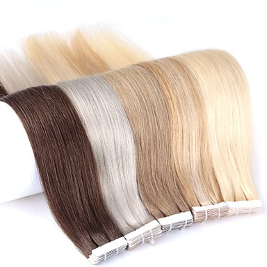 cheap Human Hair Extensions-Neitsi Tape In Human Hair Extensions Straight Human Hair Skin Weft Hair Extension 24 inch Blonde Ombre 20pcs Multi Color Women's Beige Blonde /  / Bleached Blonde / 8A