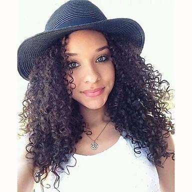 Włosy naturalne Koronkowy przód Peruka Włosy brazylijskie Kinky Curly Fryzura Bob Z baby hair 130% Gęstość 100% Dziewica Medium Damskie