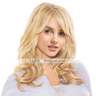 Человеческие волосы без парики Натуральные волосы Волнистый Стиль Боковая часть Длинные Машинное плетение Парик Жен.