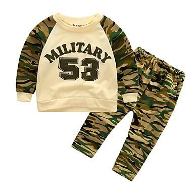 Komplet odzieży Bawełna Dla chłopców kamuflaż Na każdy sezon Długi rękaw Na co dzień Aktywny Army Green