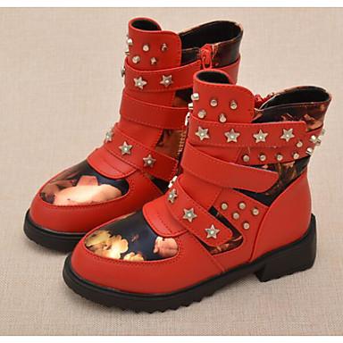 Mädchen Schuhe Kunstleder Winter Herbst Komfort Springerstiefel Stiefel für Normal Schwarz Rot