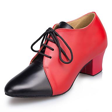 Damskie Buty do tańca nowoczesnego Skóra Sandały / Adidasy Gruby obcas Buty do tańca Black / Czerwony / Profesjonalne
