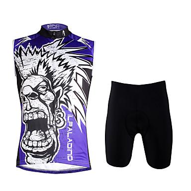 ILPALADINO Męskie Bez rękawów Koszulka z szortami na rower - Violet Czaszki Rower Kamizelka Spodenki snowboardowe Zestawy odzieży, Quick
