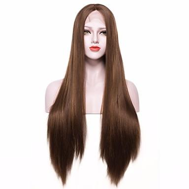 povoljno Perike i ekstenzije-Prednja perika od sintetičkog čipke Ravan kroj Stil Lace Front Perika Tamnosmeđa Sintentička kosa Žene Smeđa Perika Dug EEWigs