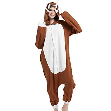 Kigurumi pyjamas Luiaard / Cartoon Onesie pyjamas Kostuum Fleece Bruin Cosplay Voor Volwassenen Dieren nachtkleding spotprent Halloween