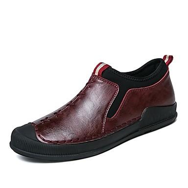 Męskie Komfortowe buty Sztuczna skóra Jesień Mokasyny i buty wsuwane Czarny / Czerwony / Khaki