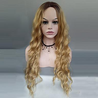 Peruki syntetyczne Pofalowana Włosy syntetyczne Włosy ombre / Przedziałek na środku Blond Peruka Damskie Długo Peruka naturalna Bez czepka