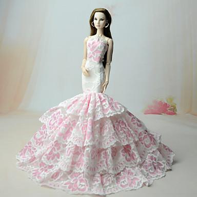 Suknie Sukienka Dla Lalka Barbie White+Pink Koronka Żakardowa Taknina Poliesterowa Ubierać Dla Dziewczyny Lalka Zabawka
