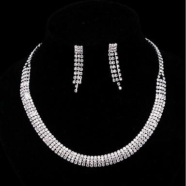 Damskie Cyrkonia / Rhinestone Biżuteria Ustaw Kolczyki wiszące / Naszyjniki z wisiorkami - Cyrkonia Silver