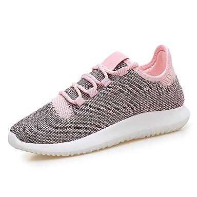 Damen Schuhe PU Herbst Komfort Leuchtende Sohlen Sportschuhe Rennen Für Sportlich Schwarz Grau Rosa