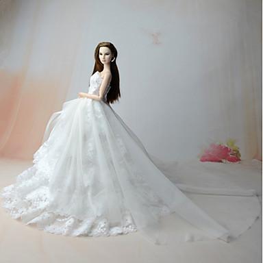 Sukienki gorsetowe Sukienka Dla Lalka Barbie White Satyna / tiul Organza Ubierać Dla Dziewczyny Lalka Zabawka