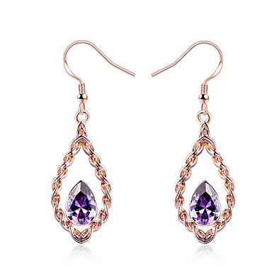 Damskie Syntetyczny diament Kolczyki wiszące - Formalna Na co dzień Modny Nowoczesne Koreański Purple Geometric Shape Kolczyki Na Ślub