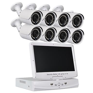 8-calowy system bezpieczeństwa 10,1-calowy telewizor 1080n ahd dvr 82.0mp kamery odporne na warunki atmosferyczne z noktowizorem