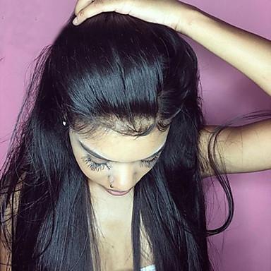 Włosy naturalne Pełna poronka Peruka Włosy brazylijskie Prosto Z baby hair 130% Gęstość 100% Dziewica Naturalna linia włosów Krótki