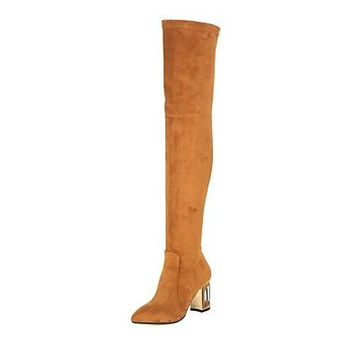 Damen Schuhe Leder Winter Neuheit Modische Stiefel Stiefel Runde Zehe Oberschenkel-hohe Stiefel Für Hochzeit Party & Festivität Schwarz