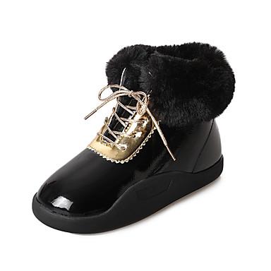 Dame Sko PU Høst / Vinter Trendy støvler Støvler Tykk hæl Rund Tå Snøring Hvit / Svart