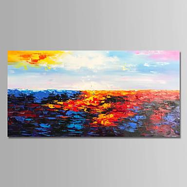 Hang-Malowane obraz olejny Ręcznie malowane - Abstrakcja Nowoczesny Płótno / Rozciągnięte płótno