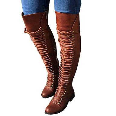 Damen Schuhe PU Winter Herbst Modische Stiefel Neuheit Komfort Stiefel Runde Zehe Mittelhohe Stiefel Schnürsenkel für Party & Festivität