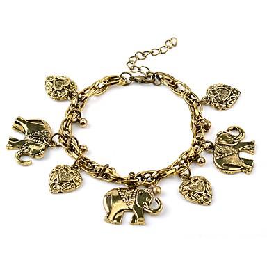 Damskie Serce Bransoletki i łańcuszki na rękę - Zwierzęta Klasyczny Vintage Gold Silver Bransoletki Na Codzienny