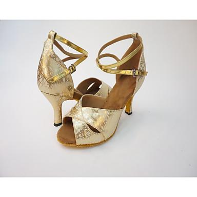 Damskie Buty do latino Syntetyczny / Derma Na obcasie Wysoki Obcas Personlaizowane Buty do tańca Gold / Silver / Domowy