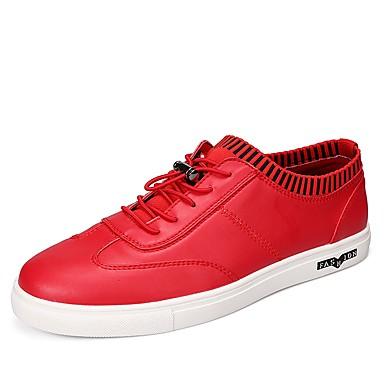 Herrn Schuhe Leder Frühling Herbst Komfort Sneakers Schnürsenkel für Normal Schwarz Rot