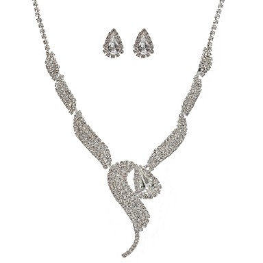 Damskie Rhinestone Biżuteria Ustaw Kolczyki wiszące, Naszyjnik - Imitacja diamentu Silver