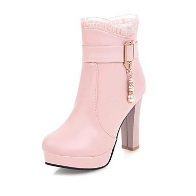 Damen Schuhe Kunstleder Winter Herbst Komfort Stiefel Runde Zehe Booties / Stiefeletten Imitationsperle Reißverschluss für Kleid Party &