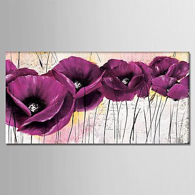 Ręcznie malowane Kwiatowy/Roślinny Poziomy, Nowoczesny Brezentowy Hang-Malowane obraz olejny Dekoracja domowa Jeden panel