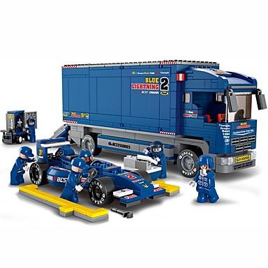 Sluban Blue Lightening F1 Klocki 644pcs Ciężarówka Ciężarówka Transportera Yarış Arabası Pojazdy Dla chłopców Zabawki Prezent